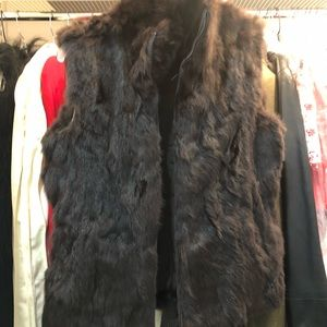 Brown Rabbit Fur reversible vest Size S